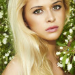 Beautiful blond woman with apple tree. summer — Stock Photo