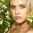 Beautiful blond womwith flowers of apple tree. summer — Stock fotografie #26783361