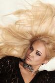 Beautiful sexy passion blond woman. white background — Stock Photo