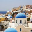 Blue and white churches of Santorini, Greece — Stock Photo