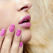 Lips,nails and hair of beautiful blond girl. — Stock Photo