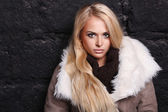Beautiful blond woman in a fur near bricks wall. winter — Stock Photo