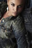 Fashion beautiful girl. denim jeans wear. beauty woman. make-up — Zdjęcie stockowe