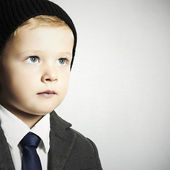Fashion little boy in tie.stylish kid. children — Foto Stock