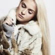 Beauty blond Model Girl in Mink Fur Coat.Beautiful Woman — Stock Photo #36923889