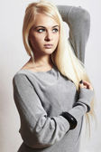 Beautiful blond woman in dress.accessories.flirt.fashion. — Stock Photo