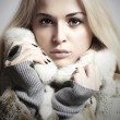 Stock Photo: Beauty blond Model Girl in Mink Fur Coat.Beautiful Woman