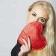 Lovely Beautiful Blond Woman with Red Heart. Beauty Girl. Hold Love Symbol. Valentine's Day. in Black Dress — Stock Photo