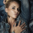 Fashion Beautiful Woman in Jeans. Denim Jacket. Jeans Wear. Beauty Sexy Girl — Stock Photo