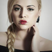 Beautiful Blond Woman with Heart on the Lips.Beauty Red Sexy Lips.Valentines Day.Professional Make-up. Freak Girl with Tress — Stock Photo