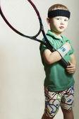 Little Boy Playing Tennis. Sport Children. Child with Tennis Racket — Stock Photo