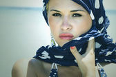 Beautiful woman on the beach. Arabian style. Summer fashion. freckles — Stock Photo
