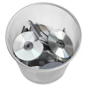 Digital Discs In Dustbin — Stock Photo