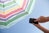 With Phone On The Beach - With Clipping Path — Stock Photo