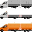 Stock Vector: Transporter with trailer