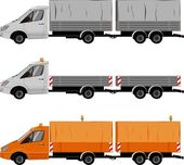 Transporter with trailer — Stock Vector