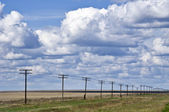 Power line against blue sky — Stock Photo