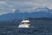 Lodě v kanálu beagle, poblíž ushuaia. — Stock fotografie