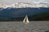 Yacht in the Beagle Channel, near Ushuaia. — Stock Photo