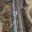 Many wagons and trains. Aerial view. - Stock Photo