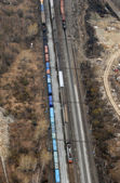Many wagons and trains. Aerial view. — Stock Photo