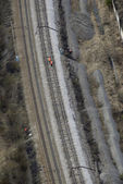 Aerial view of railway lines with workers. — ストック写真