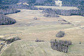 Aerial view of fields and forest. — Stock Photo