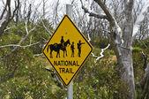 "Sign ""National trail"" in Mt Kosciuszko national park, Australia. — Stockfoto"
