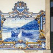 Vintage tiles at railway station in central Douro Region. - Stok fotoğraf