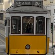 Old tram in a street of Lisbon. - Stock Photo