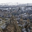 Stock Photo: Sandstone formations in town Goreme. Cappadocia, Turkey.