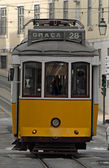 Old tram in a street of Lisbon. — Stock Photo