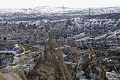 Sandstone formations in town Goreme. Cappadocia, Turkey. — Stock Photo