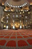 Blå moskén interiör med chandelies och mattan — Stockfoto