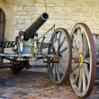 Stock Photo: Old gun in front of medieval fort. SMarino.