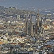 Panoramic view of Barcelona with Sagrada Familia church. Spain. — Stock Photo