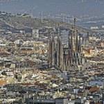 Panoramic view of Barcelona with Sagrada Familia church. Spain. — Stock Photo
