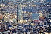 Pohled na panorama barcelony včetně věže agbar — Stock fotografie