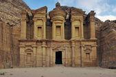 Panoramic shot of the Monastery Ad-Deir in Petra, Jordan. — Stock Photo