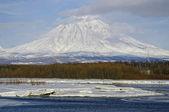 Koryaksky volcano of Kamchatka Peninsula and river Avacha.  — Stock Photo
