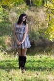 Brunette in dress — Stock Photo