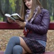 Stock Photo: A girl reading on a bench