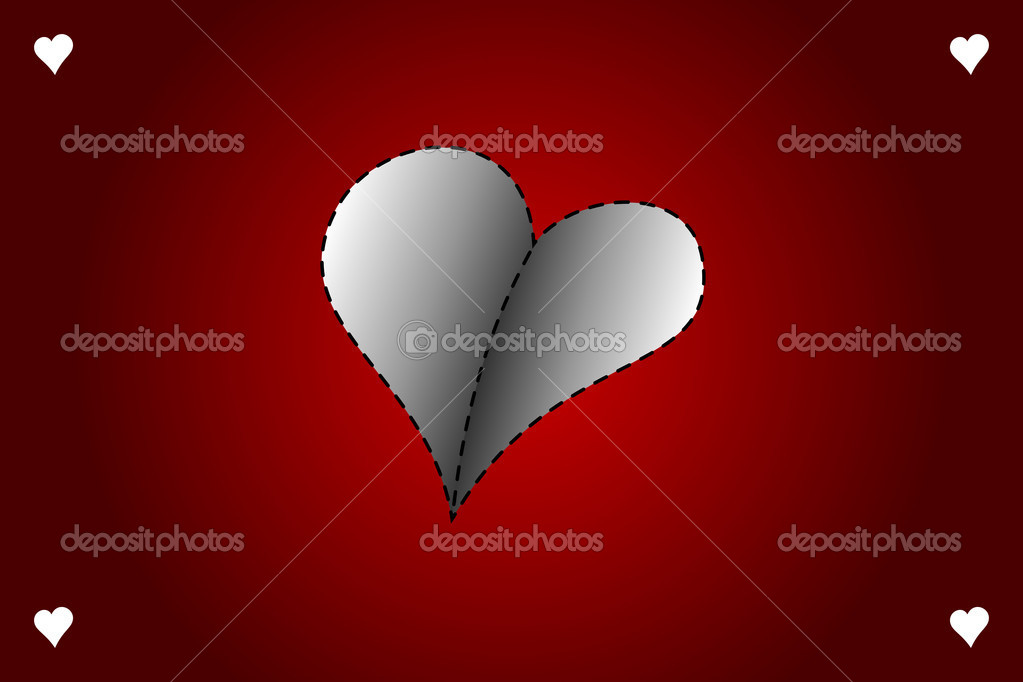 Valentines day vector card with gray heart on red background — Stock Vector #19520157