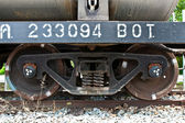 Old train wheels on rails. close-up — Zdjęcie stockowe