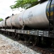Set of tanks with oil and fuel transport by rail — Stock Photo #28975205