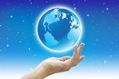 Mundo e mãos bonitas — Foto Stock
