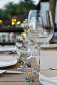 Restaurant dinner table place set — Stock Photo
