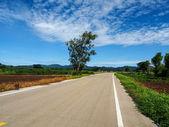 Asphalt road with blue sky — Foto de Stock
