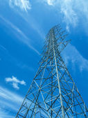 High voltage tower sky background. — Stock Photo