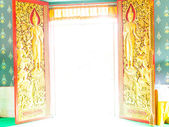 Beautiful door open in the church of Temple in Thailand — Stock Photo